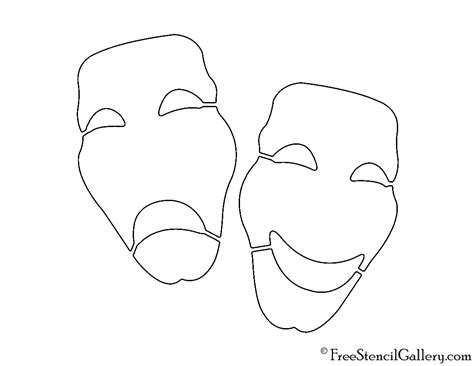 Drama Mask Template by Drama Masks Stencil Free Stencil Gallery