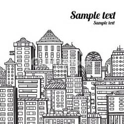 Panorama of the city cartoon illustration in black and white vector