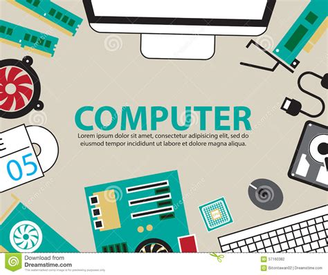 computer desk hardware desk computer hardware vector background stock vector