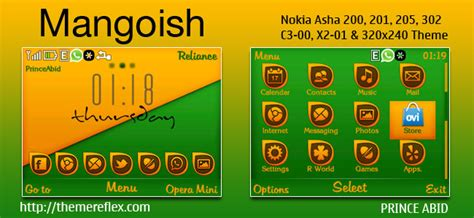 themes nokia x2 01 by princeabid mangoish theme for nokia c3 00 x2 01 asha 200 201 205