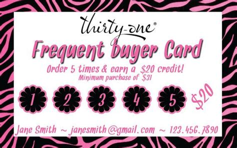 Partylite Business Card Template by Thirty One Consultant Frequent Buyer Card By Mallidesigns