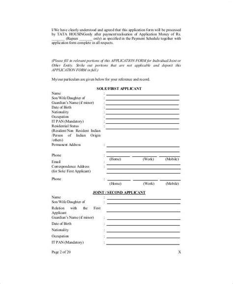 sle apartment application form 7 exles in word pdf
