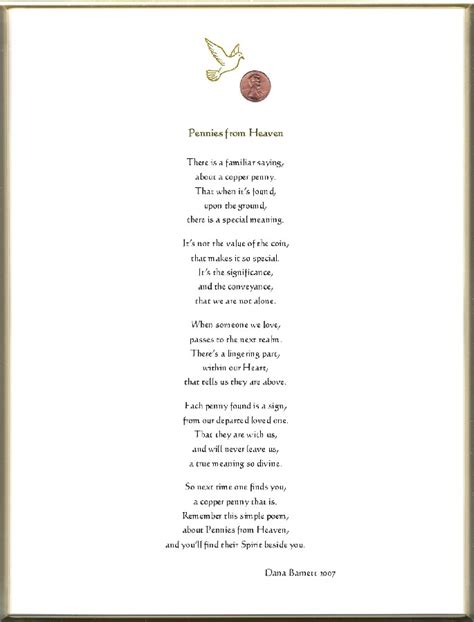Printable Pennies From Heaven Poem pennies from heaven poem print keepsake