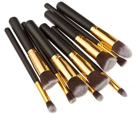 Kuas Make Up Satu Set kuas make up wajah 10 pcs black gold jakartanotebook