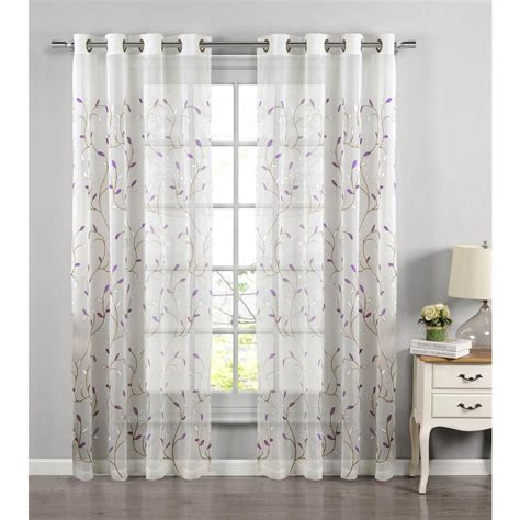 how wide should grommet curtains be window elements sheer wavy leaves embroidered sheer lilac