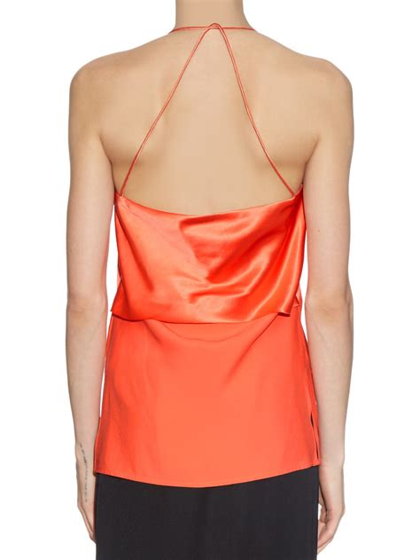 Satin Silk 10 lyst dion silk satin bias fold cami top in orange