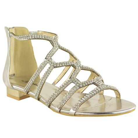 womens flat diamante strappy gladiator summer cut