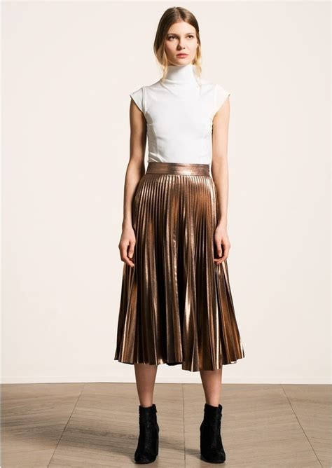 Metallic Pleated Midi Skirt pleated midi skirt skirt ify