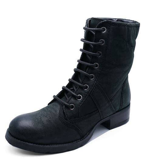 real biker boots womens black real leather lace up biker military calf