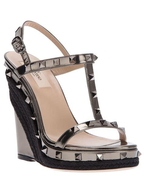 valentino studded sandals valentino studded wedge sandal in black lyst