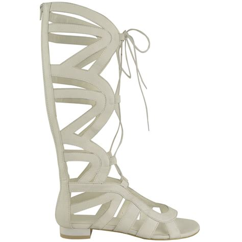 knee high lace up sandals womens knee high gladiator lace up sandals flat