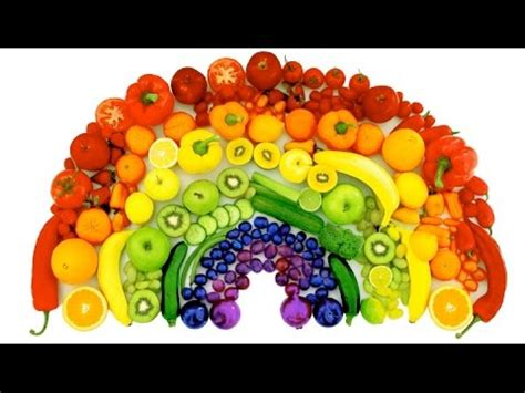 3 fruit 5 veg learn colors of the rainbow with real fruits and