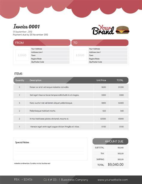 Fast Food Invoice Food Invoice Template