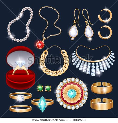icon design jewelry realistic earrings jewelry accessories icons set stock