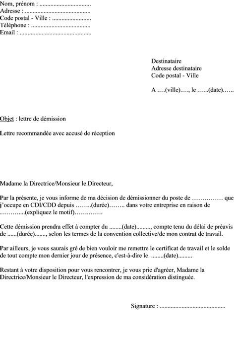 Modele Lettre Demission Cdd exemple de lettre de d 233 mission d une entreprise dans le