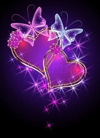 vector  shiny butterfly flaming  colourbox heart