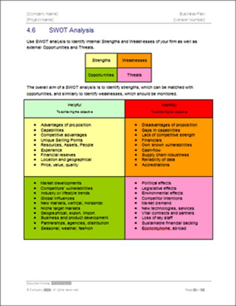 business plan swot analysis template business plan templates 40 page ms word 10 free excel