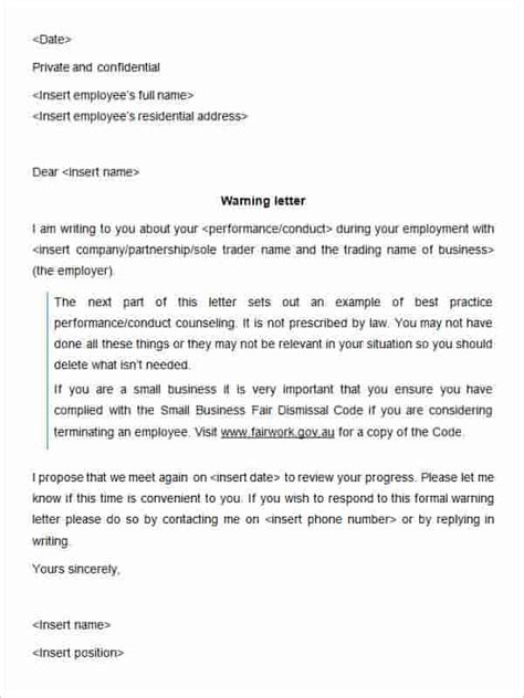 6 warning letter to employee template hr cover letter