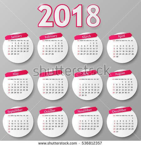 Calendar 2018 Illustrator 2018 Calendar Stock Images Royalty Free Images Vectors