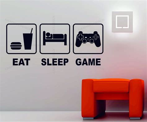 home design wii game eat sleep game playstation xbox wii decor art vinyl wall