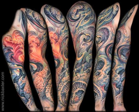 fantasy sleeve tattoo designs sleeve by nick baxter