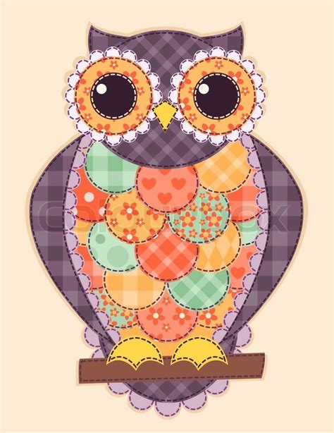 Patchwork Owls - colored patchwork owl vector quilt illustration stock