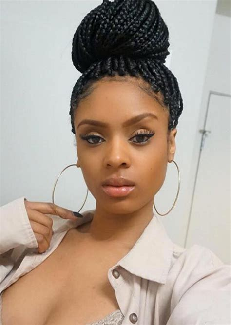 box braid bun 35 awesome box braids hairstyles you simply must try box