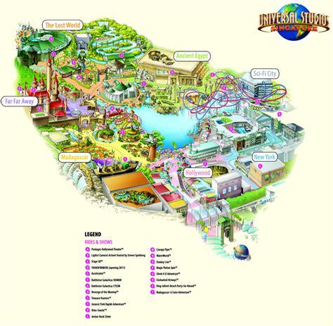 theme park map  universal studios