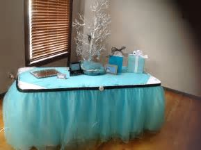 Gift table at the shower. Out tulle skirting is beautiful