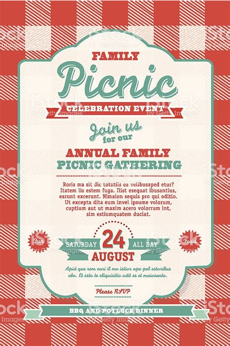 picnic invitation template bbq tablecloth picnic invitation design template stock