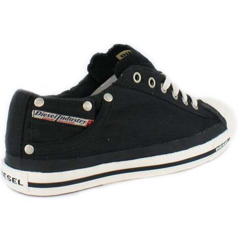 diesel exposure womens canvas black trainers new shoes all