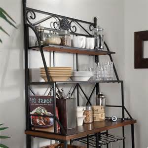 Corner Bakers Rack Wrought Iron Axon Corner Bakers Rack With Wrought Iron Frame And Wood