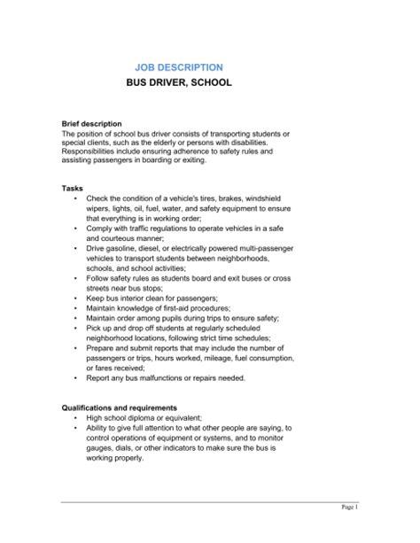resume school bus driver resume