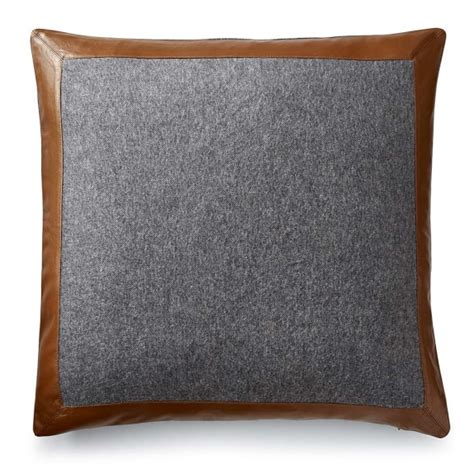 and leather pillow cover grey williams sonoma