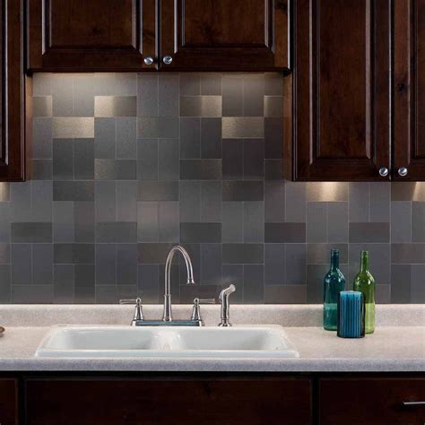 aspect 3x6 brushed stainless long grain metal backsplash tile
