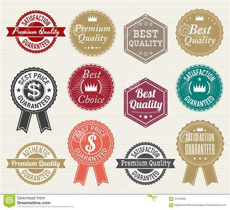 Stiker Riben set of retro quality and price guarantee tag banner label badge sticker ribbon stock vector