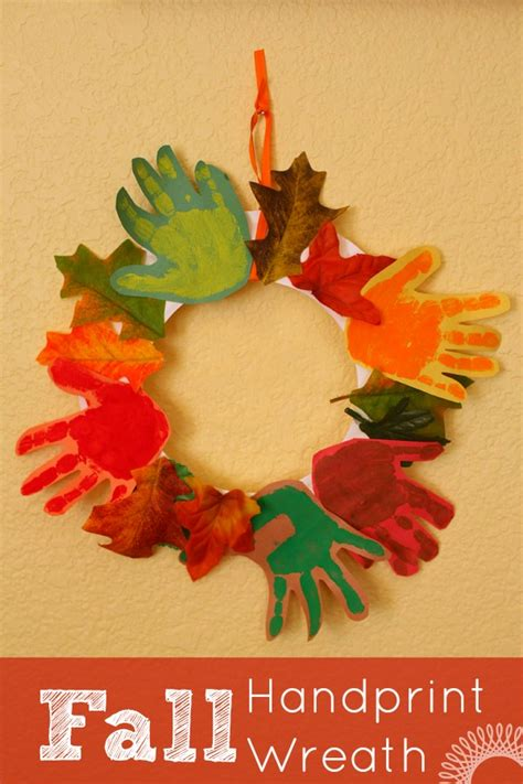 Autumn Paper Crafts - fall handprint wreath wreaths craft and thanksgiving