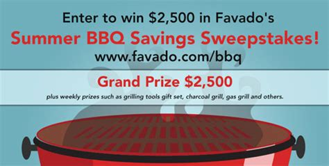Enter To Win Sweepstakes 2014 - enter to win 2500 in favado s summer bbq savings sweepstakes