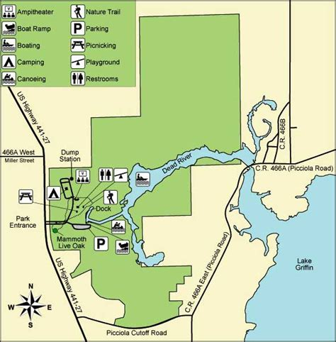 florida state parks map lake griffin state park florida state parks