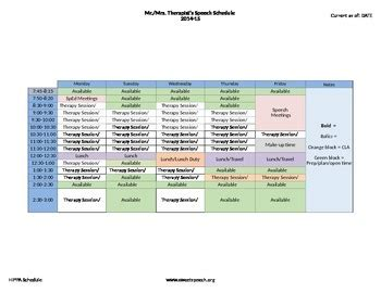speech therapy schedule template by agb speech therapy tpt