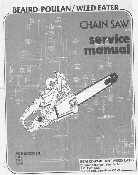 Poulan 3400 - 4000 Chainsaw Workshop downloadable pdf