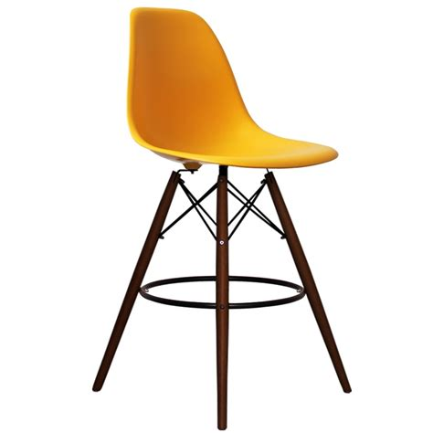 eames style bar stool yellow eames inspired yellow dsb style walnut bar stool with