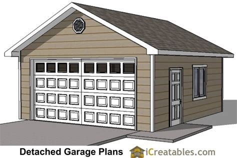 20 X 20 Garage by 20x20 2 Car 1 Door Detached Garage Plans