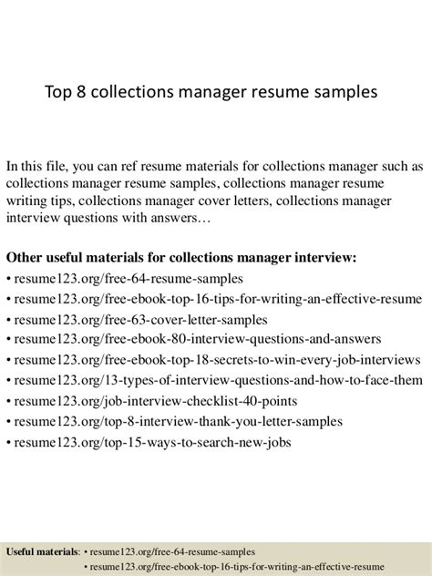 Collections Resume by Top 8 Collections Manager Resume Sles