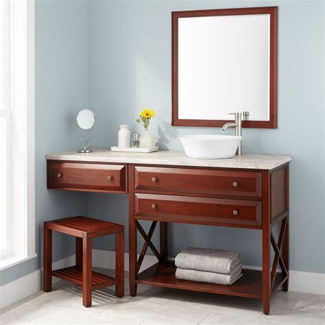 bathroom vanity makeup area wood vessel sink vanity signature hardware