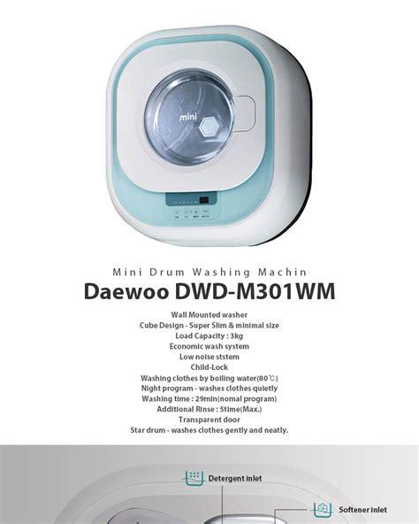 Daewoo Dwd M301wm Wall Mounted Mini Drum Washing Machine