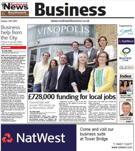 business section of newspaper sponsorship of the southwark news business section clacksons