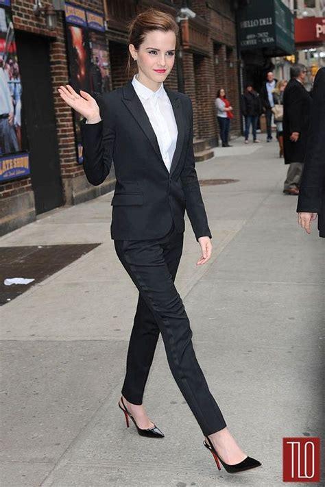 emma watson in suit emma watson in a saint laurent blazer shirt and pants