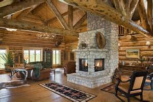 log cabin with 3 sided fireplace cozy rustic design