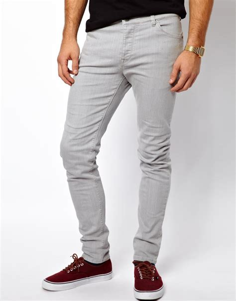 Mens Grey Skinny Jeans Bbg Clothing